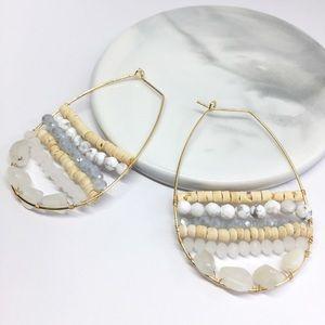 NWT Anthropologie Stone Hoop Earrings